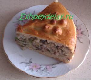 кусок пирога с селедкой
