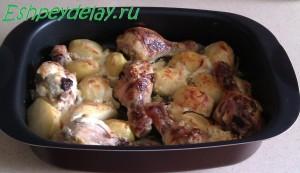 запеченые куриные голени с картошкой
