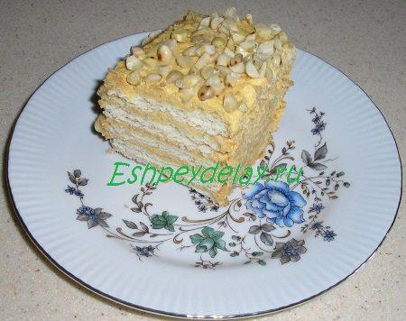 Торт из печенья творога и сметаны в разрезе
