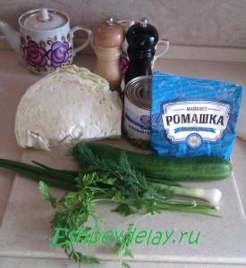 Рецепт салата из свежей капусты и огурца
