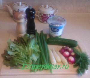 рецепт салата из редиса с огурцом