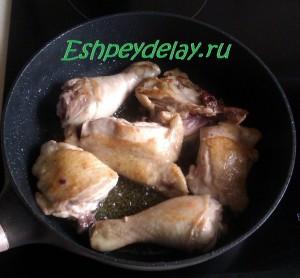 курица обжареная на сковороде