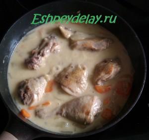 курица тушеная в винном соусе