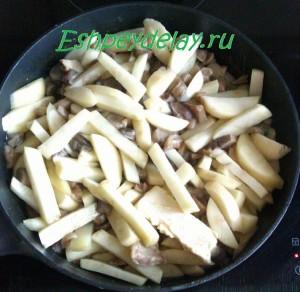картошка с грибами в сковороде