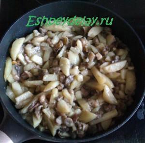 жареная картошка с грибами в сковороде