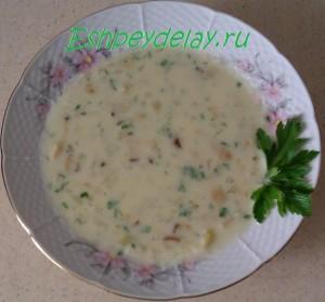 суп из белых грибов с плавленным сыром