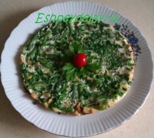 Омлет с грибами и фасолью