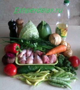 Рецепт овощного рагу с курицей и кабачками