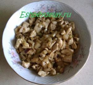 обжаренные грибы, курица и лук в тарелке