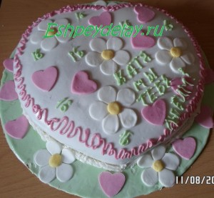 торт из мастики в виде сердца на день родждения