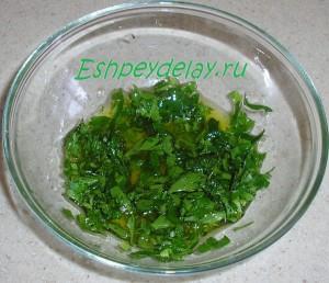 оливковое масло, сок лимона и зелень