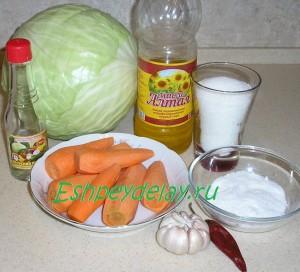 Рецепт маринованной капусты с чесноком, быстрого приготовления