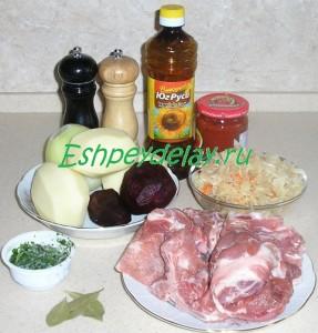 Рецепт борща со свининой и квашеной капустой