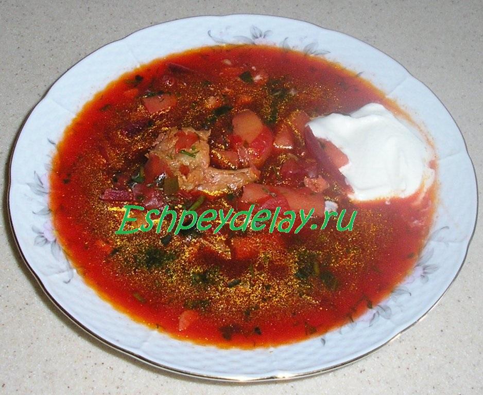 Рецепт вкусного красного борща со свининой