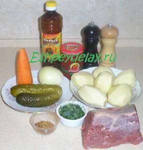 Рецепт азу по татарски с солеными огурцами