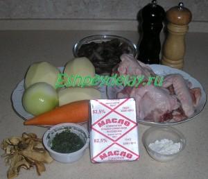 Рецепт грибного супа с курицей