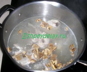 сухие белые грибы с курицей в кастрюле