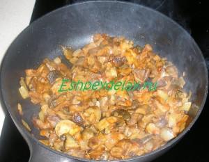 томатная паста с грибами и луком на сковороде