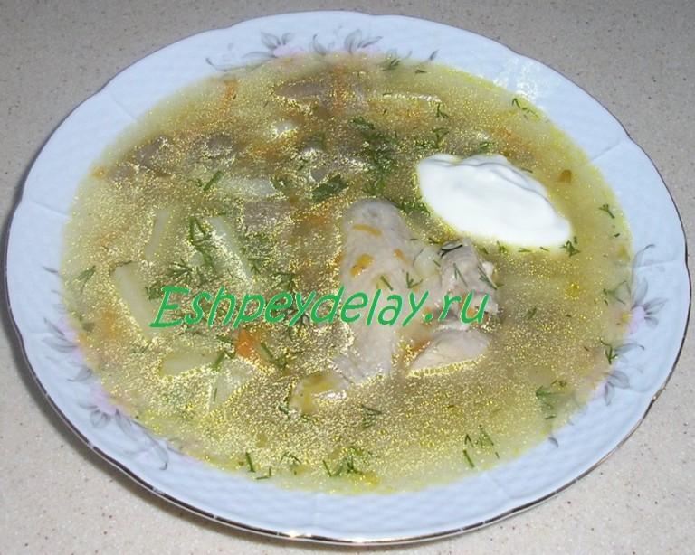 суп с сухими грибами и курицей