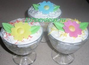 Десерт из маскарпоне и фруктов