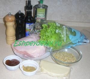 Рецепт салата из курицы с кедровыми орешками и козьим сыром