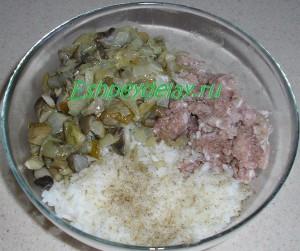 фарш с рисом и грибами в миске