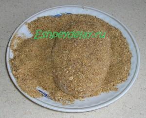 мясная зраза с грибами в панировочных сухарях