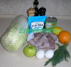 рецепт салата с кальмарами и пекинской капустой