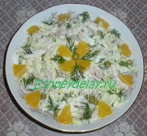 салат с кальмарами и пекинской капустой