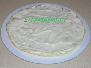 корж домашнего торта смазанный кремом