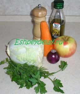 Рецепт салата из пекинской капусты с яблоком