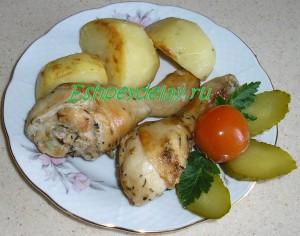куриные ножки с картошкой запеченные в пакете