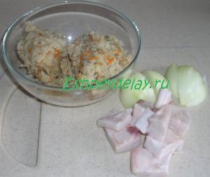 квашеная капуста, сало и лук