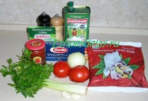 Рецепт  спагетти с морепродуктами в томатном соусе