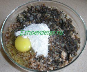 гречка с грибами, мукой и яйцом