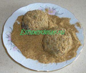 тефтели из гречки с грибами в панировке