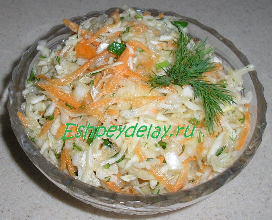 Cалат из капусты с морковью