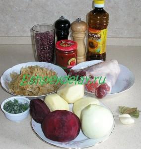 рецепт борща с фасолью