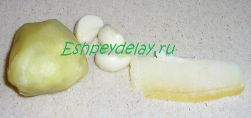 чеснок, картошка и сало