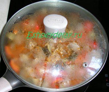 тушеные мясо с овощами и грибами