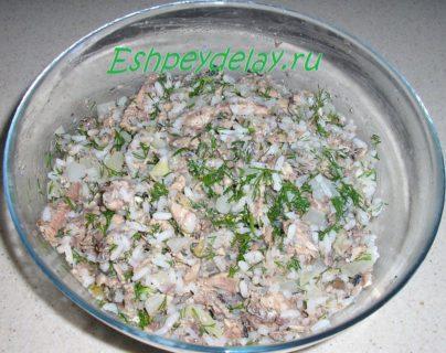 начинка для пирога с рисом и консервами
