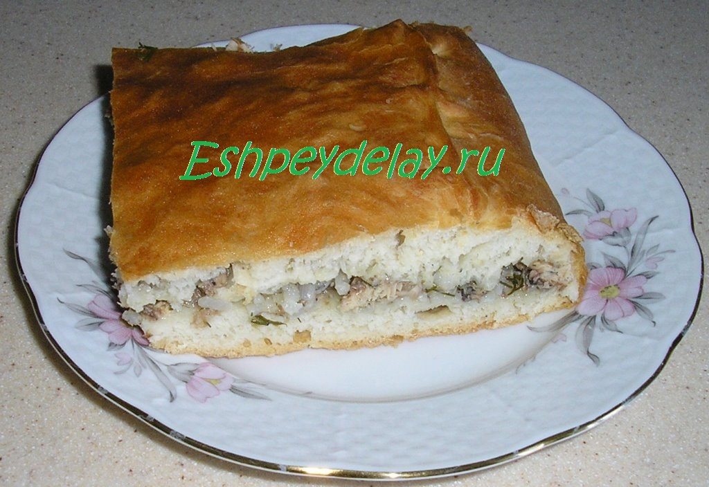 Рецепт пирога с рыбной консервой и рисом пошагово