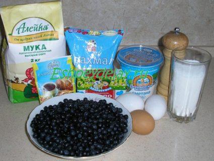 Рецепт песочного пирога с черникой