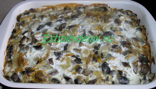судак с грибами в духовке