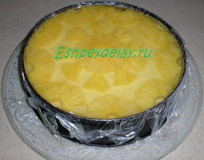 йогуртовый торт с ананасами и желе