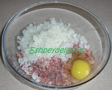 Фарш с рисом и яйцом