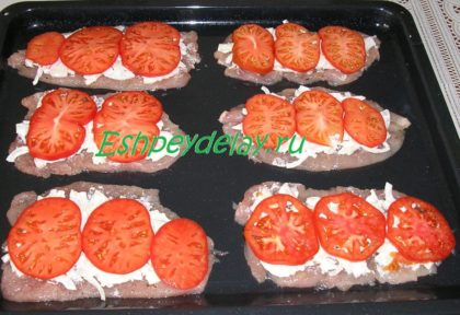 куриные отбивные с луком и помидорами