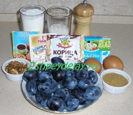 Рецепт сливового пирога с грецкими орехами