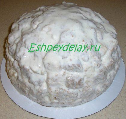 торт с ананасами в креме