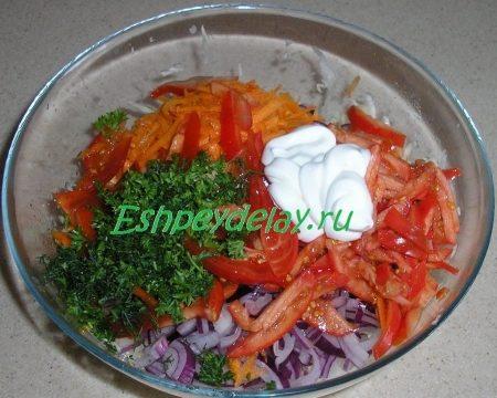 ингредиенты для салата из капусты с помидорами